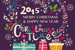 童趣圣诞新年贺卡矢量素材