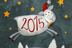 2015卡通绵羊海报矢量素材