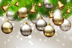 闪亮圣诞吊球与松枝矢量素材