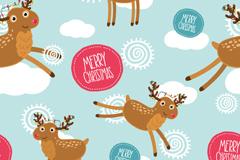 圣诞驯鹿无缝背景矢量素材