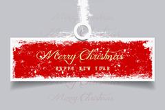 创意红色圣诞标签矢量素材