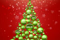 绿色折扣圆形标签圣诞树矢量素材