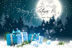 精美圣诞雪夜礼盒矢量素材