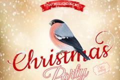 精美圣诞红腹灰雀海报矢量素材