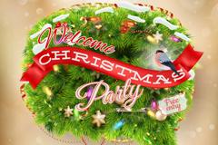 圣诞松枝丝带派对海报矢量素材