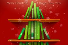 绿色书本组成的圣诞树矢量素材