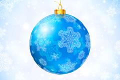 蓝色雪花纹圣诞吊球矢量素材