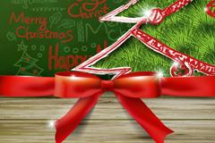 创意圣诞树与蝴蝶结矢量素材