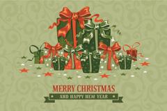 复古圣诞礼包贺卡矢量素材