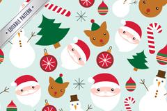 圣诞元素无缝背景设计矢量素材