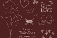 11款手绘爱心元素矢量素材