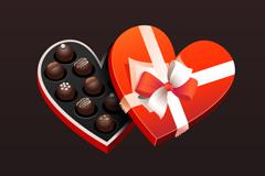 巧克力爱心礼盒矢量素材