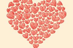 红色爱心涂鸦矢量素材