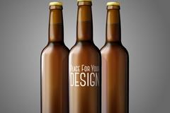 3个棕色空白啤酒瓶设计矢量素材