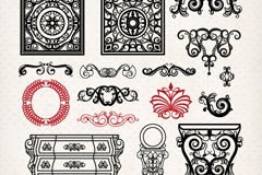 16款古典花纹与家具设计矢量素材