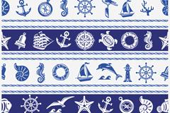 蓝色航海元素无缝背景矢量素材