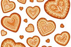 花纹爱心饼干无缝背景矢量素材