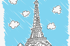 手绘巴黎铁塔矢量素材