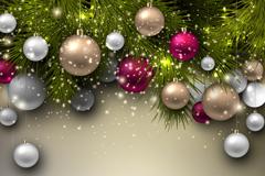 精致节日吊球新年贺卡矢量素材