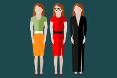 3位时尚女子设计矢量素材