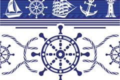 蓝色船舵航海风格背景矢量素材