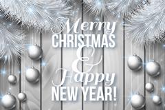 银色松枝圣诞新年贺卡矢量素材