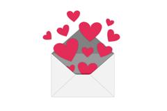 飞出信封的爱心矢量素材
