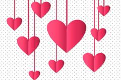 粉色纸爱心吊饰矢量素材