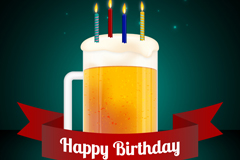 丝带啤酒生日贺卡矢量素材