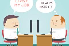 喜欢和讨厌工作的商务男子矢量素材