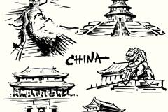 5款中国著名建筑矢量素材