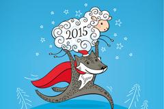 2015年举绵羊的灰狼矢量素材