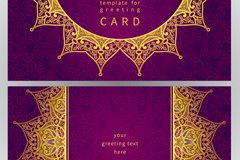 金色花纹紫底祝福卡矢量素材图片