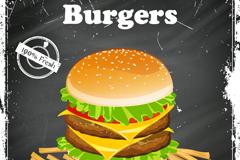 复古汉堡与薯条海报矢量素材