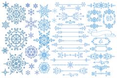52款蓝色雪花纹与花边矢量素材