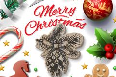 精美立体圣诞元素贺卡矢量素材