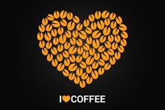 咖啡豆组合爱心矢量素材