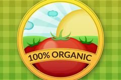 纯天然番茄标签矢量素材