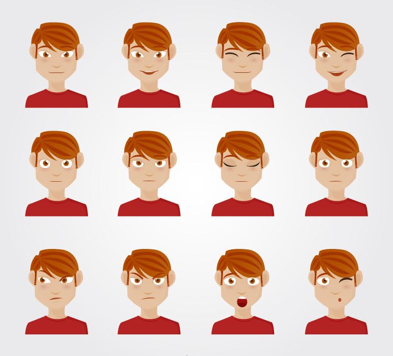 矢量人物   ai格式,含jpg预览图,关键字:笑,眨眼,闭眼,呆,不满,惊讶图片
