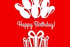 气球与礼盒生日贺卡矢量素材