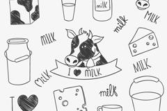 11款手绘奶牛与牛奶制品矢量素材
