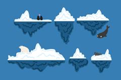 6款卡通冰川和北极熊企鹅设计矢量素材