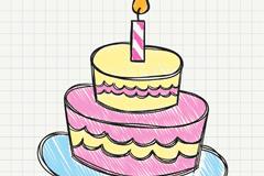 彩绘生日蛋糕矢量素材