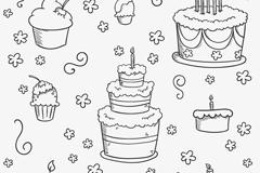 手绘蛋糕元素背景矢量素材