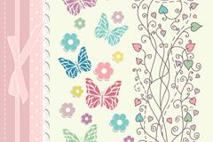 清新蕾丝与花卉邀请卡矢量素材
