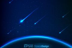梦幻太空流星背景矢量素材