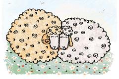彩绘草地上的绵羊矢量素材