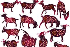 17款花纹剪纸山羊设计矢量素材