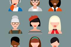 9款女性头像设计矢量素材