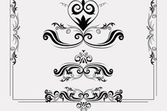 6款黑色花纹与花边设计矢量素材